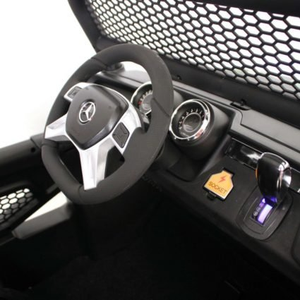Электромобиль Mercedes-Benz Unimog Concept P555BP 4WD синий (полный привод, колеса резина, кресло кожа, пульт, музыка)
